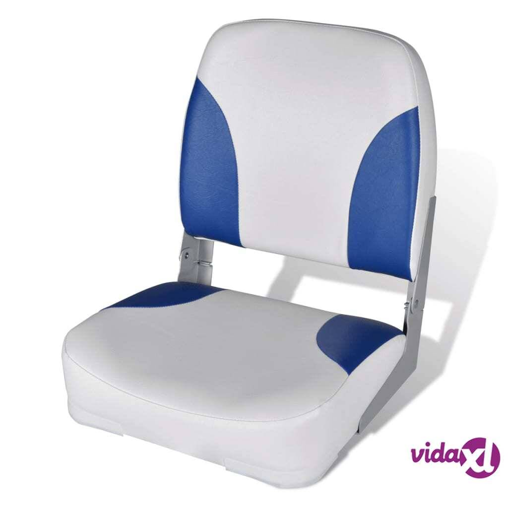 """vidaXL Boat Seat Foldable Backrest with Blue-white Pillow 16.1""""x14.2""""x18.9"""""""