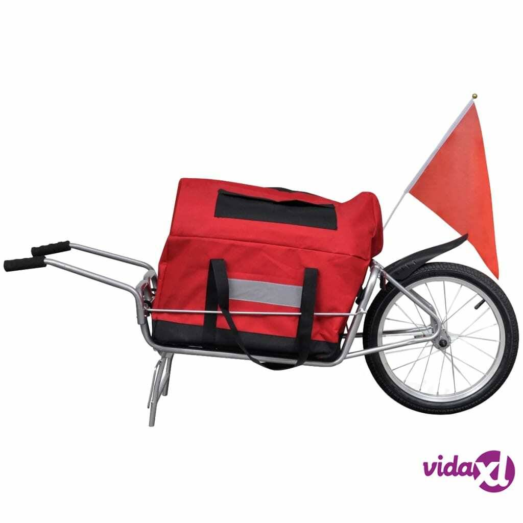 vidaXL Bicycle Cargo Trailer One-wheel with Storage Bag  - Red