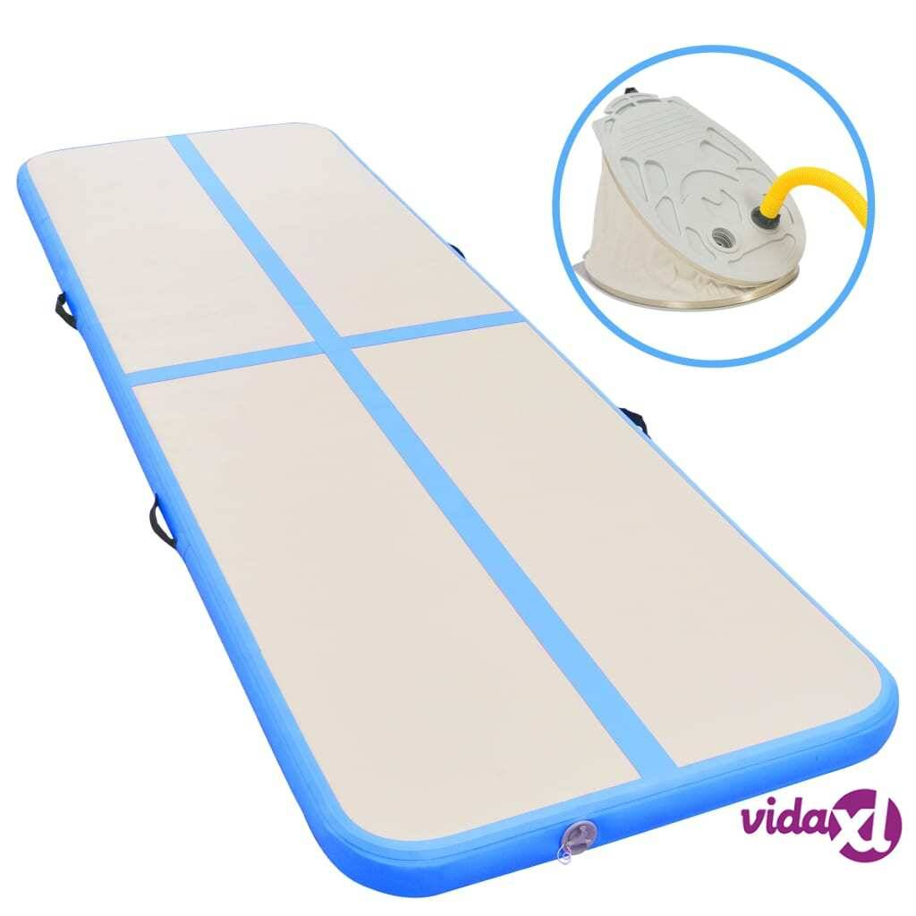"vidaXL Inflatable Gymnastics Mat with Pump 315""x39.4""x3.9"" PVC Blue  - Blue"