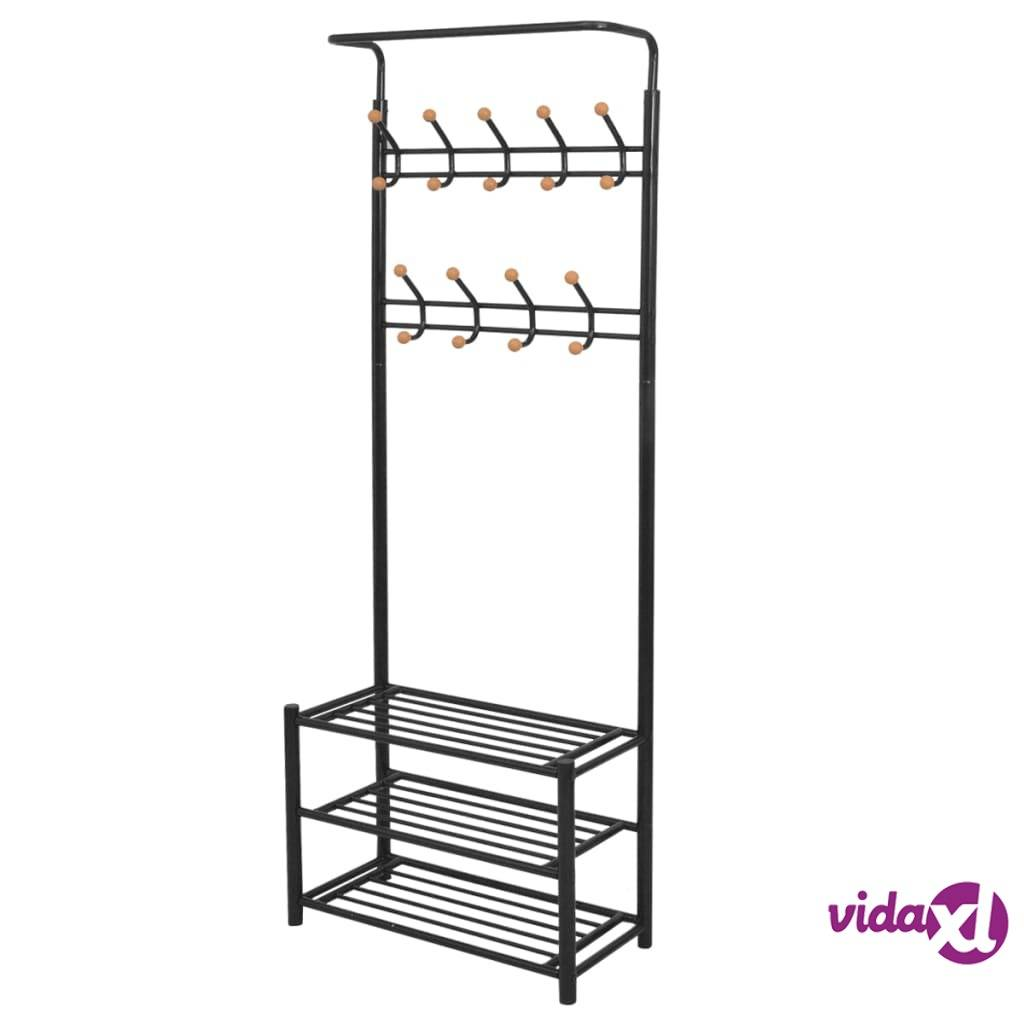 "vidaXL Clothes Rack with Shoe Storage 26.8""x12.6""x71.9"" Black  - Black"