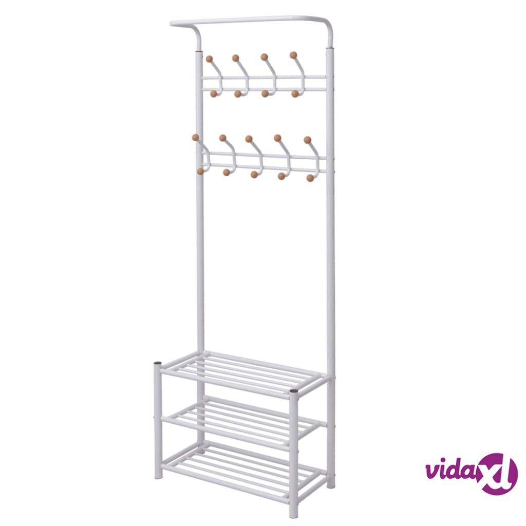"vidaXL Clothes Rack with Shoe Storage 26.8""x12.6""x71.9"" White  - White"