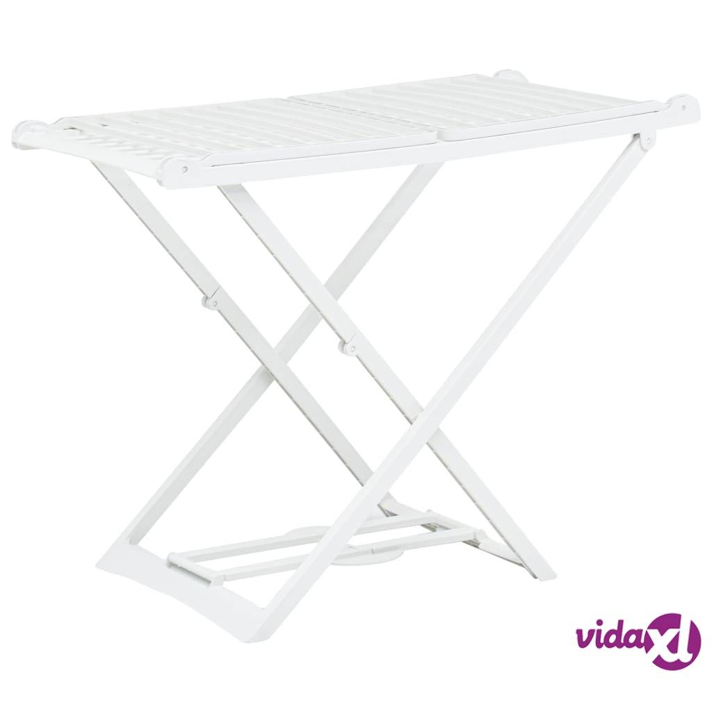 vidaXL Folding Clothes Dry Rack White Plastic  - White