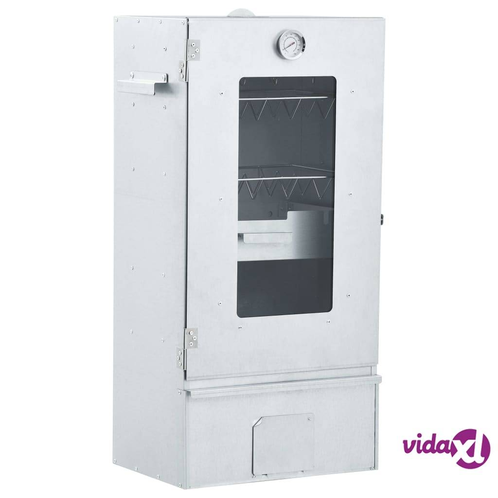 """vidaXL BBQ Oven Smoker with 2.2lbs Wood Chips 17.5""""x11.4""""x32.7""""  - Silver"""