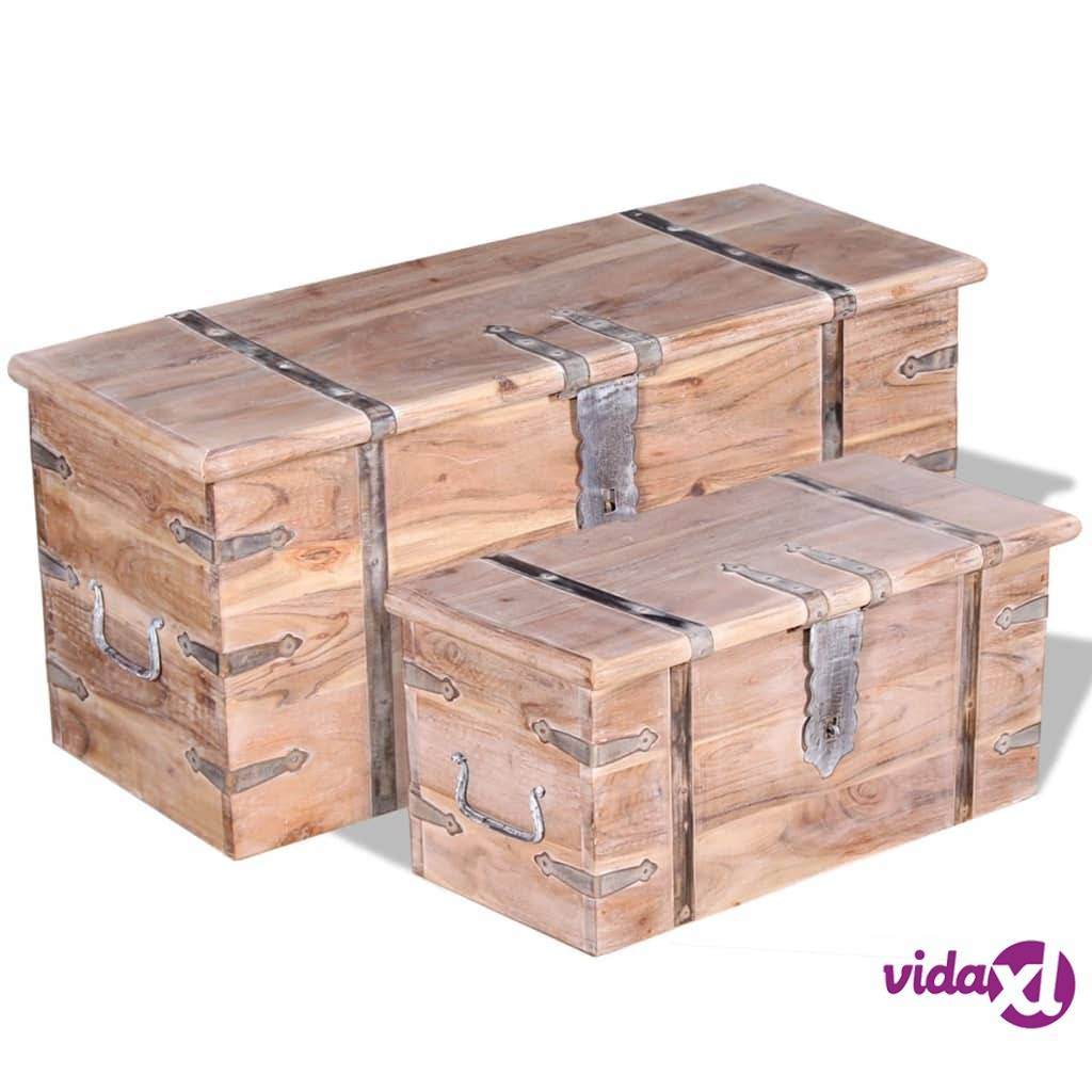 vidaXL 2 Piece Storage Chest Set Acacia Wood  - Brown