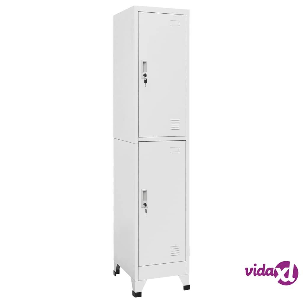 "vidaXL Locker Cabinet with 2 Compartments 15""x17.7""x70.9""  - Grey"