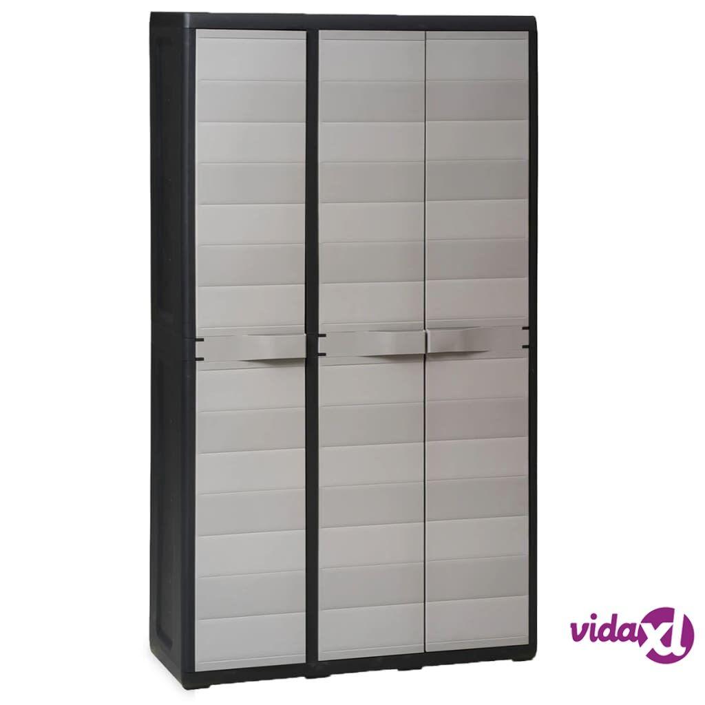 vidaXL Garden Storage Cabinet with 4 Shelves Black and Gray  - Grey