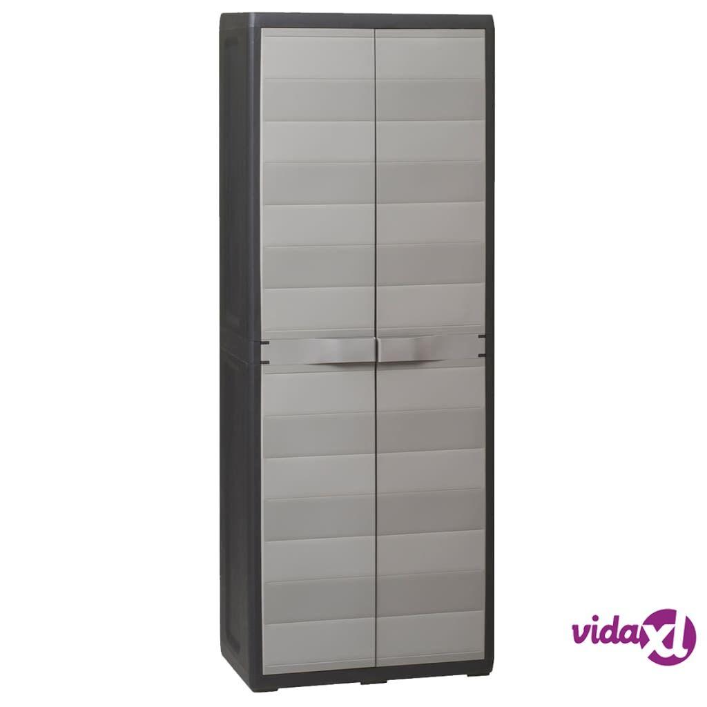 vidaXL Garden Storage Cabinet with 3 Shelves Black and Gray  - Grey