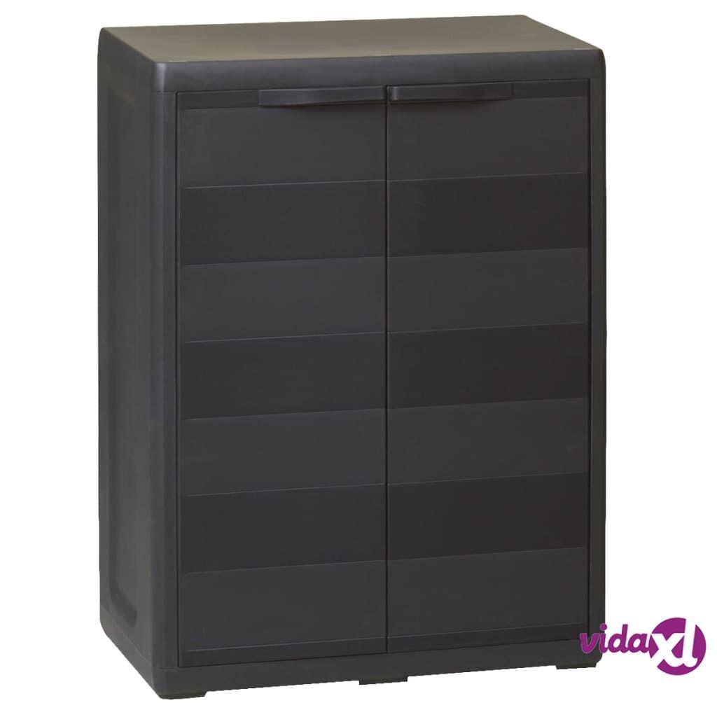 vidaXL Garden Storage Cabinet with 1 Shelf Black  - Black