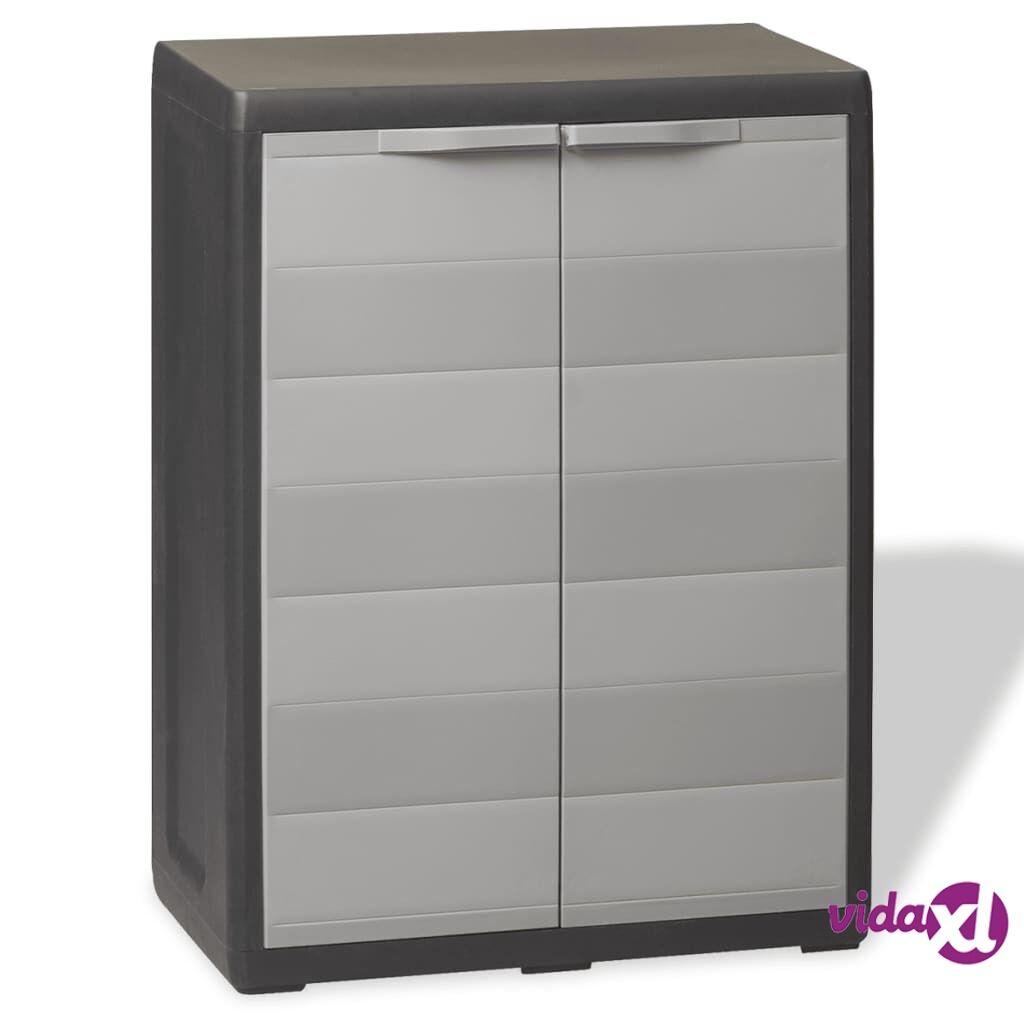 vidaXL Garden Storage Cabinet with 1 Shelf Black and Gray  - Grey