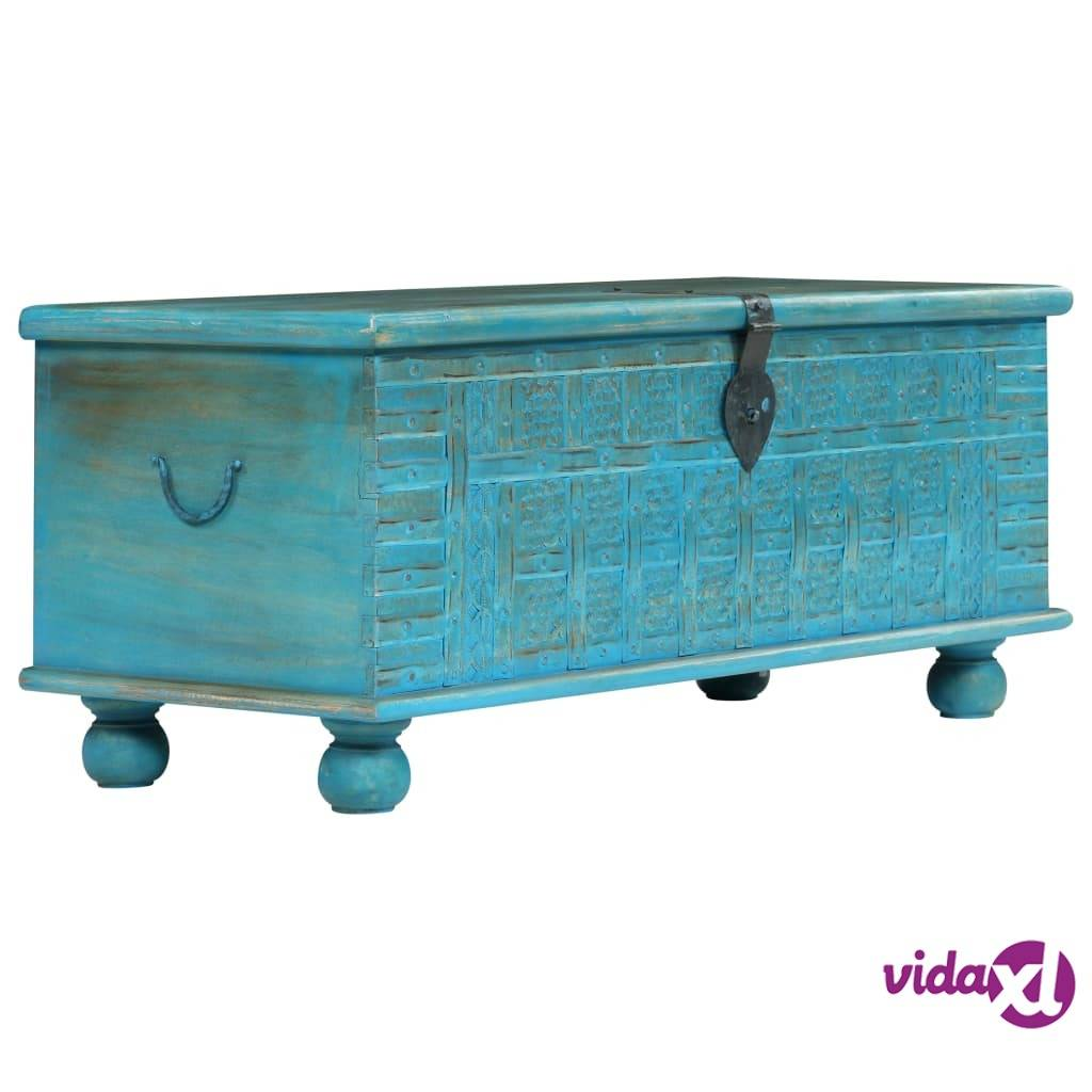 "vidaXL Storage Chest Solid Mango Wood Blue  39.4""x15.8""x16.1""  - Blue"