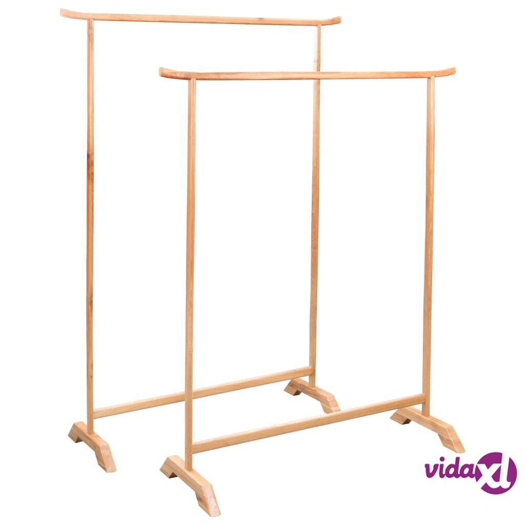 vidaXL Clothes Racks 2 pcs Solid Oak Wood  - Brown