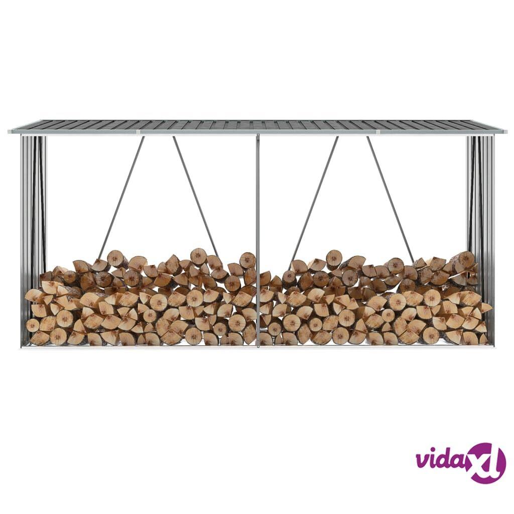 "vidaXL Garden Log Storage Shed Galvanized Steel 130""x33""x60"" Gray  - Grey"