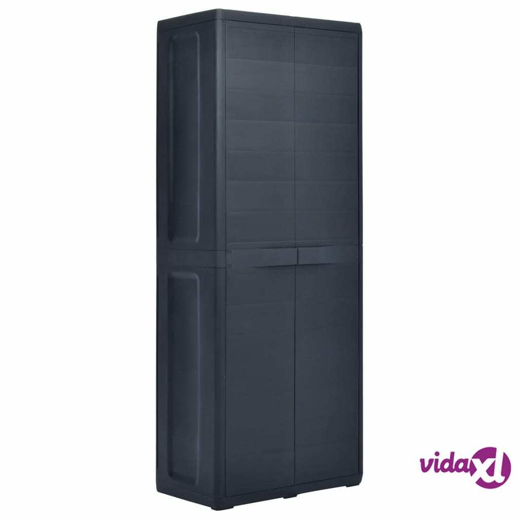 "vidaXL Garden Storage Cabinet 25.6""x15""x67.3"" Plastic  - Black"