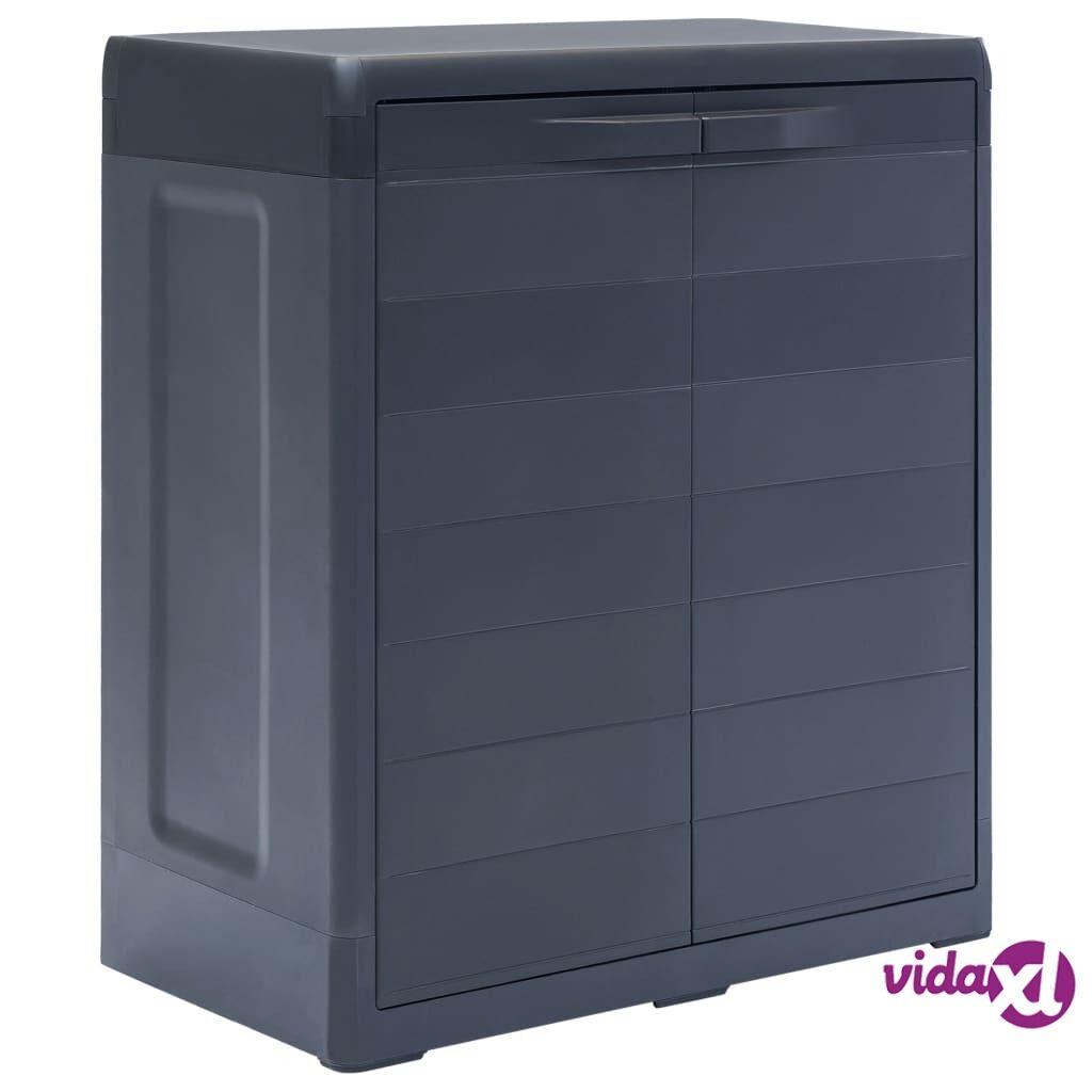 "vidaXL Garden Storage Cabinet XL 30.7""x18.1""x37"" Plastic  - Black"