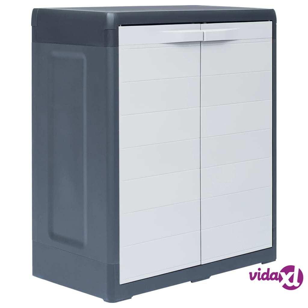 "vidaXL Garden Storage Cabinet XL 30.7""x18.1""x37"" Plastic  - Grey"