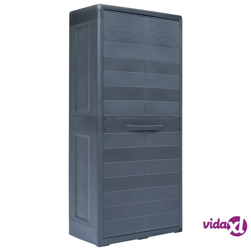 "vidaXL Garden Storage Cabinet XL 30.7""x18.1""x68.9"" Plastic  - Black"