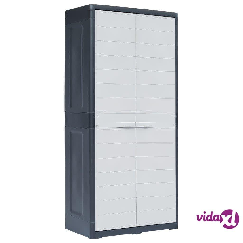 "vidaXL Garden Storage Cabinet XL 30.7""x18.1""x68.9"" Plastic  - Grey"