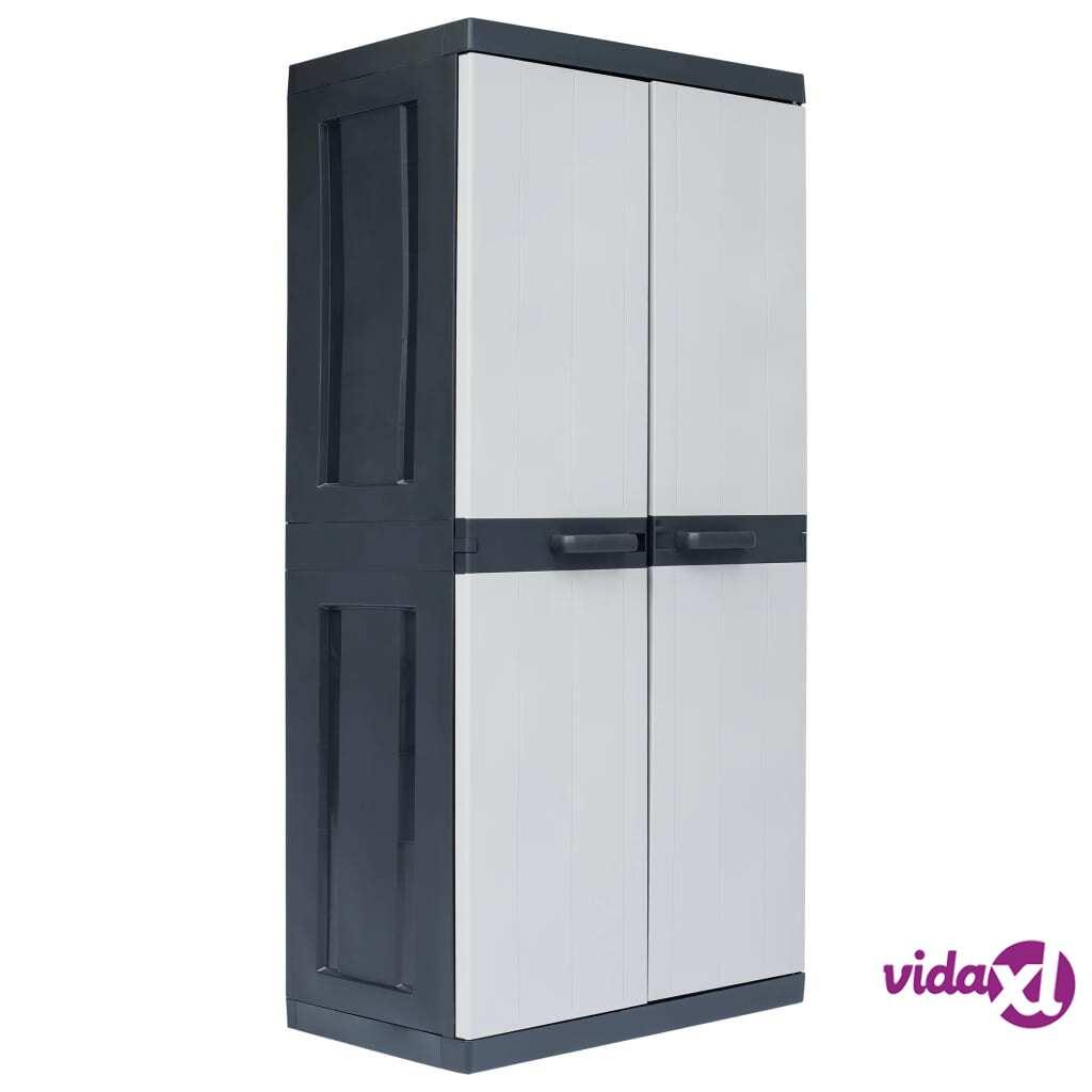"vidaXL Garden Storage Cabinet XXL 35""x21.3""x74.8"" Plastic  - Grey"