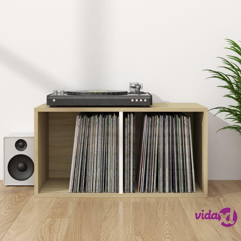 "vidaXL Vinyl Storage Box White and Sonoma Oak 28""x13.4""x14.2"" Chipboard  - Brown"