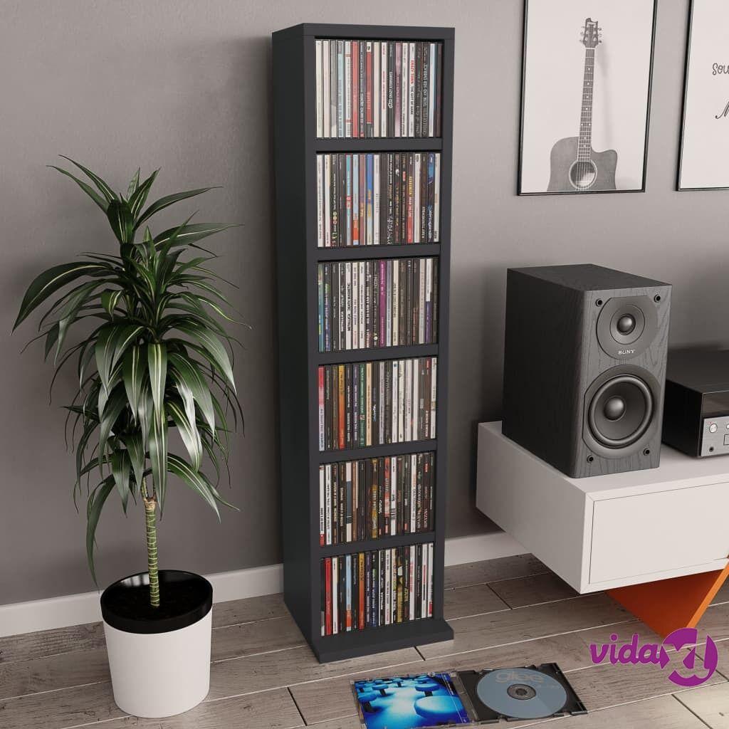 """vidaXL CD Cabinet Gray 8.3""""x9""""x34.6"""" Chipboard  - Grey"""