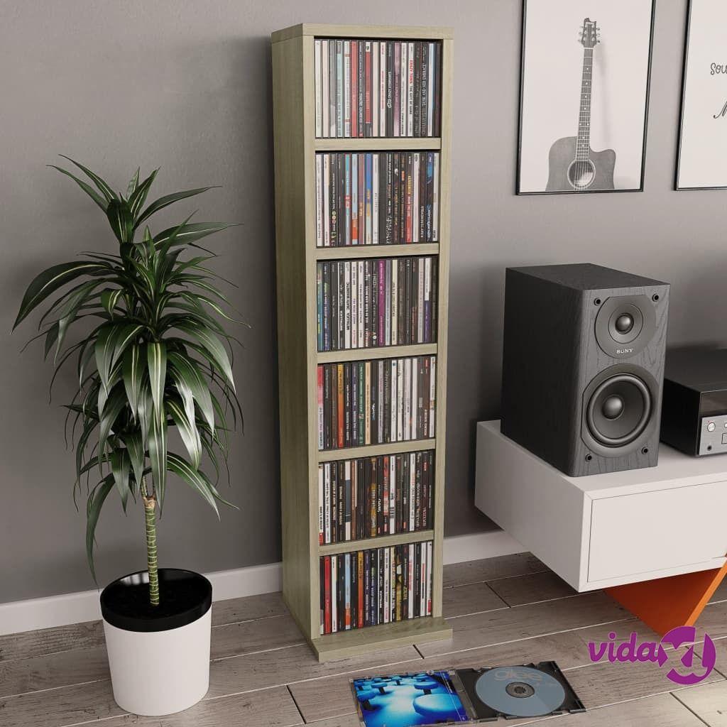 "vidaXL CD Cabinet Sonoma Oak 8.3""x9""x34.6"" Chipboard  - Brown"