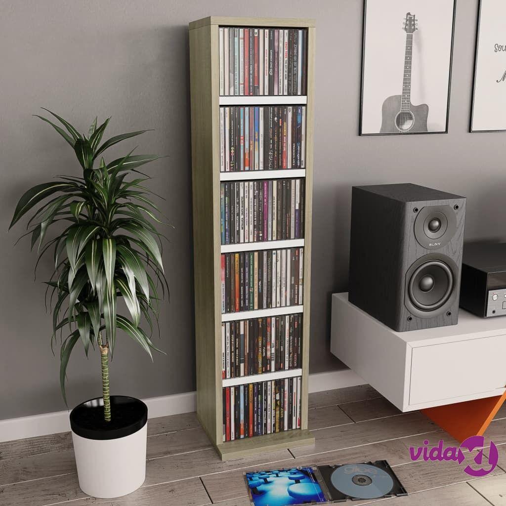 "vidaXL CD Cabinet White and Sonoma Oak 8.3""x9""x34.6"" Chipboard  - Brown"