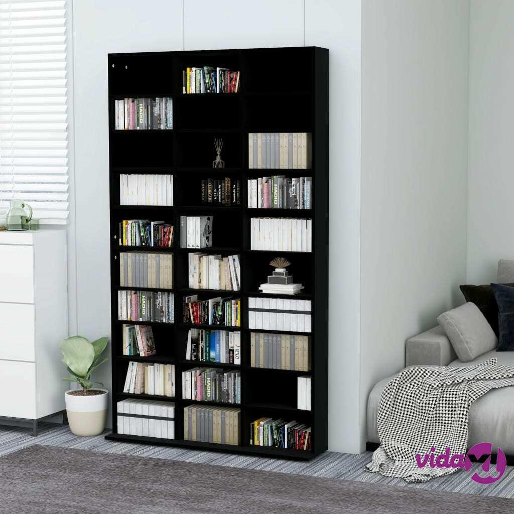 """vidaXL CD Cabinet Black 40.6""""x9""""x69.9"""" Chipboard  - Black"""
