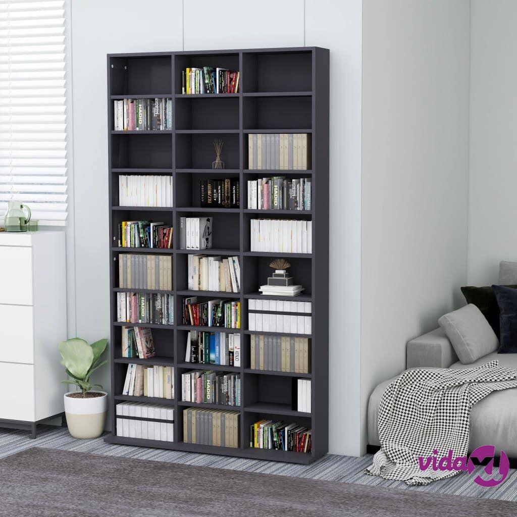 """vidaXL CD Cabinet Gray 40.6""""x9""""x69.9"""" Chipboard  - Grey"""