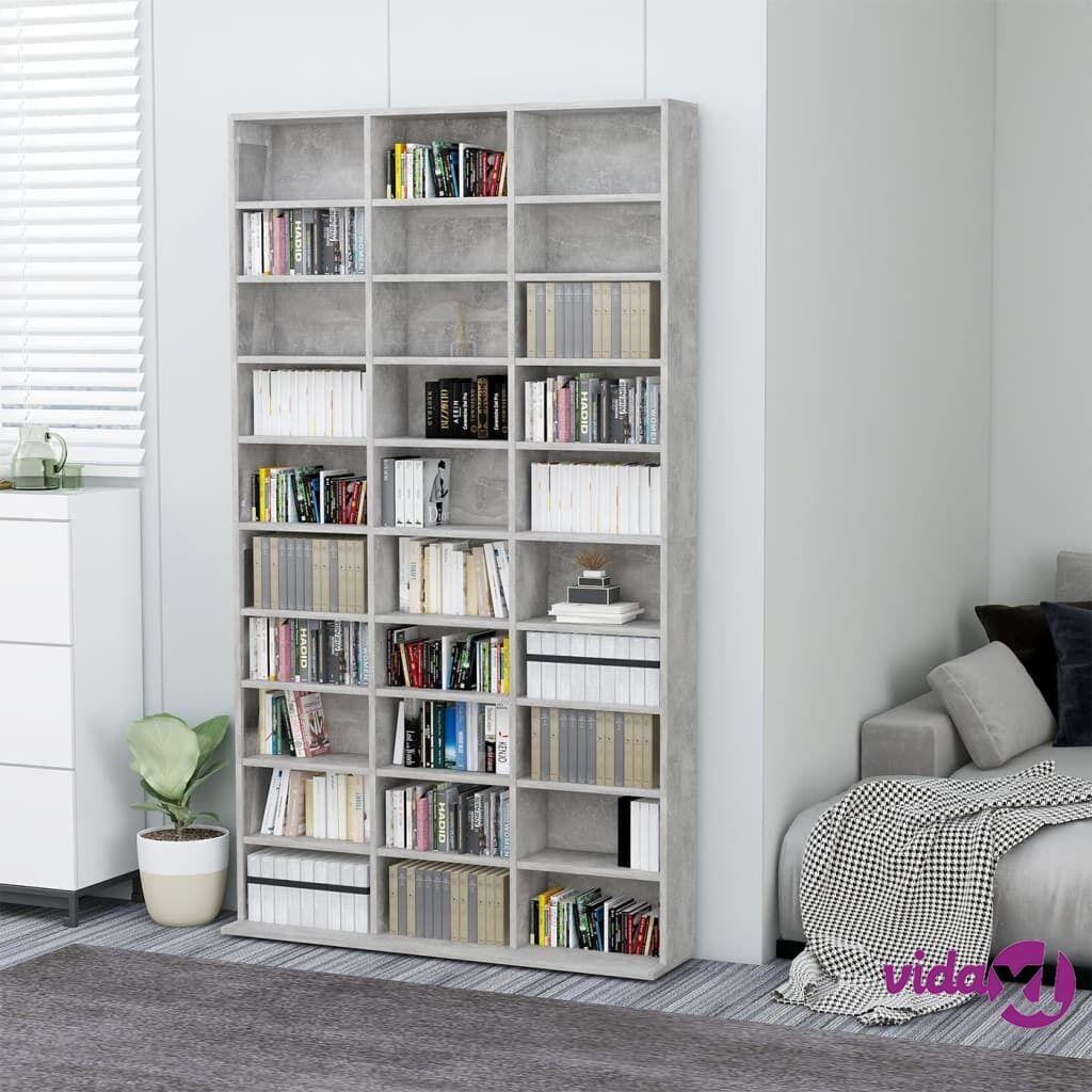 "vidaXL CD Cabinet Concrete Gray 40.6""x9""x69.9"" Chipboard  - Grey"
