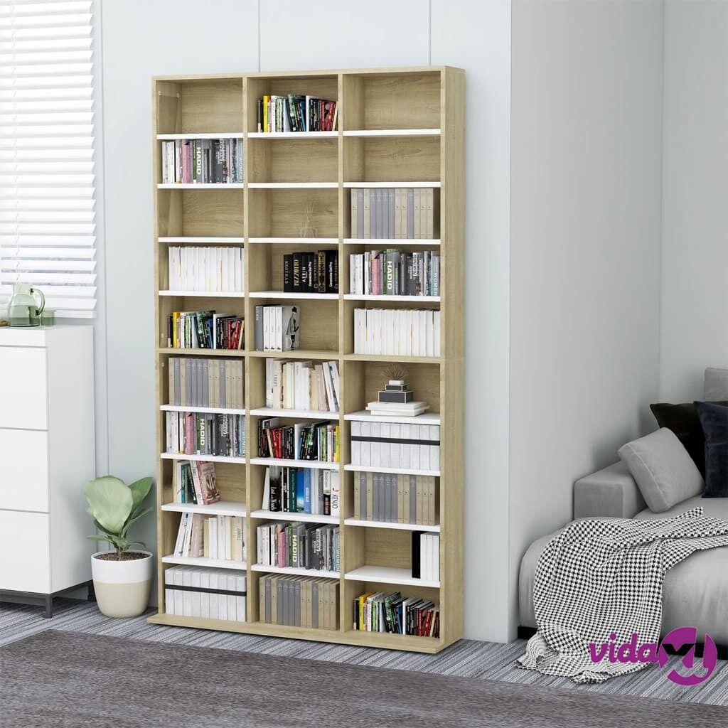 "vidaXL CD Cabinet White and Sonoma Oak 40.6""x9""x69.9"" Chipboard  - Beige"