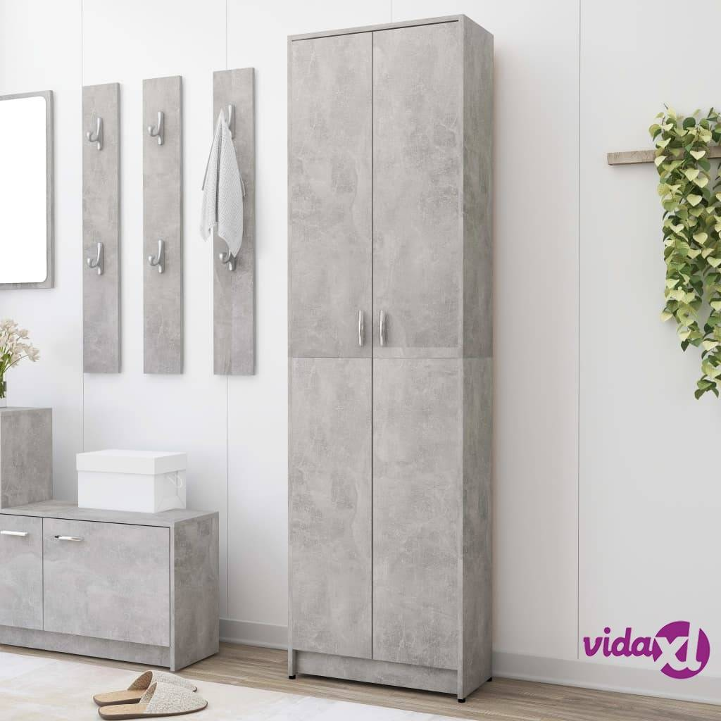"vidaXL Hallway Wardrobe Concrete Gray21.7""x9.8""x74.4"" Chipboard  - Grey"