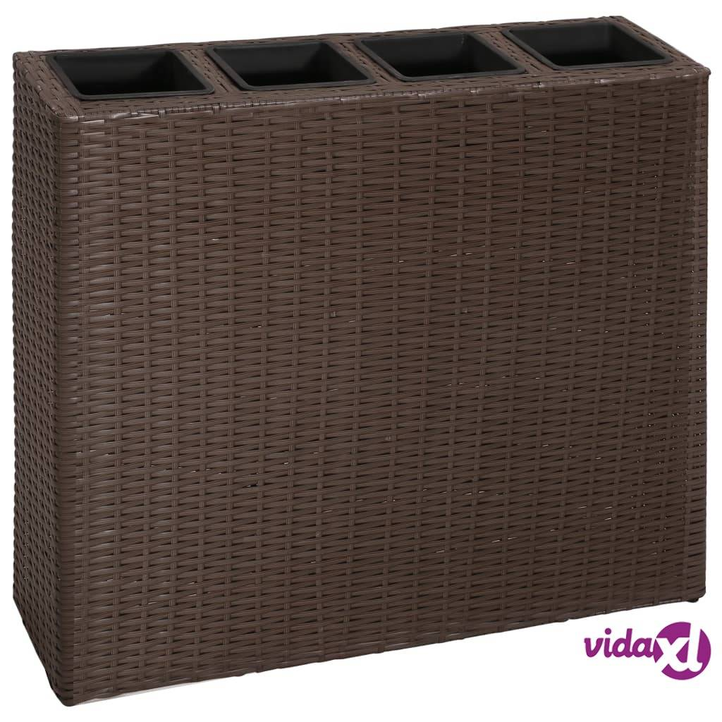 vidaXL Garden Raised Bed with 4 Pots Poly Rattan Brown  - Brown