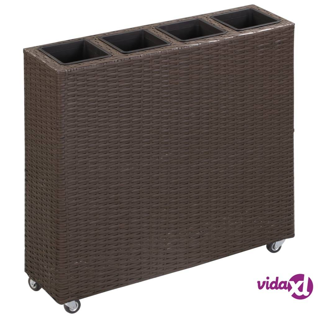 "vidaXL Garden Raised Bed with 4 Pots 31.5""x8.7""x31.1"" Poly Rattan Brown  - Brown"