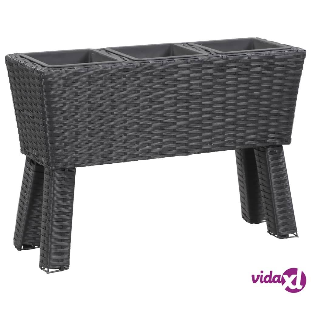 "vidaXL Garden Raised Bed with Legs and 3 Pots 28.3""x9.8""x19.7"" Poly Rattan Black  - Black"