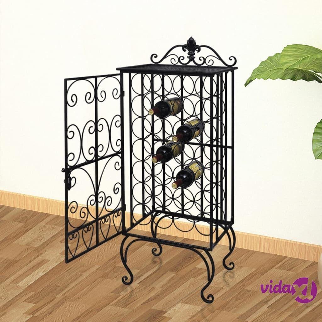 vidaXL Wine Rack for 28 Bottles Metal  - Black