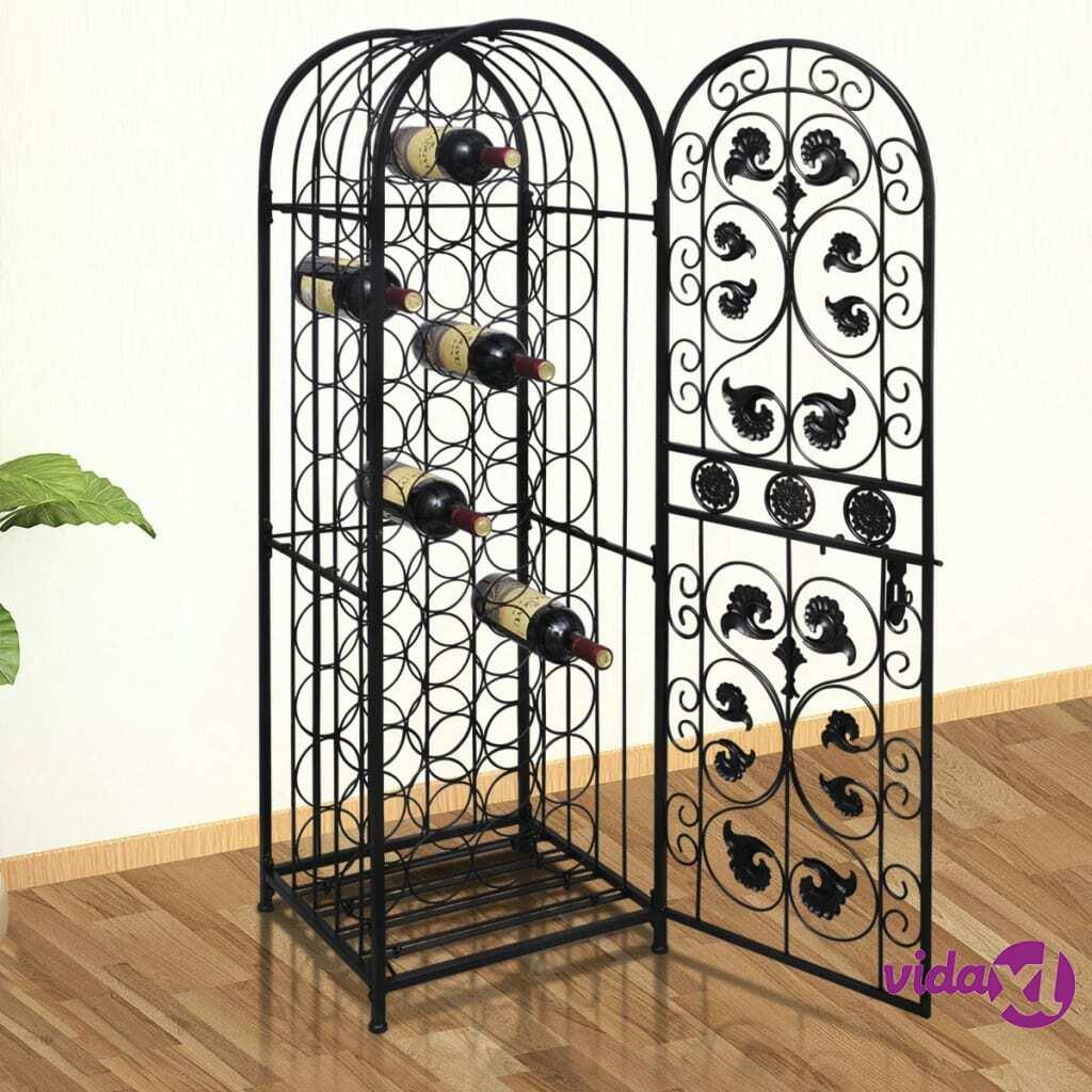 vidaXL Wine Rack for 45 Bottles Metal  - Black
