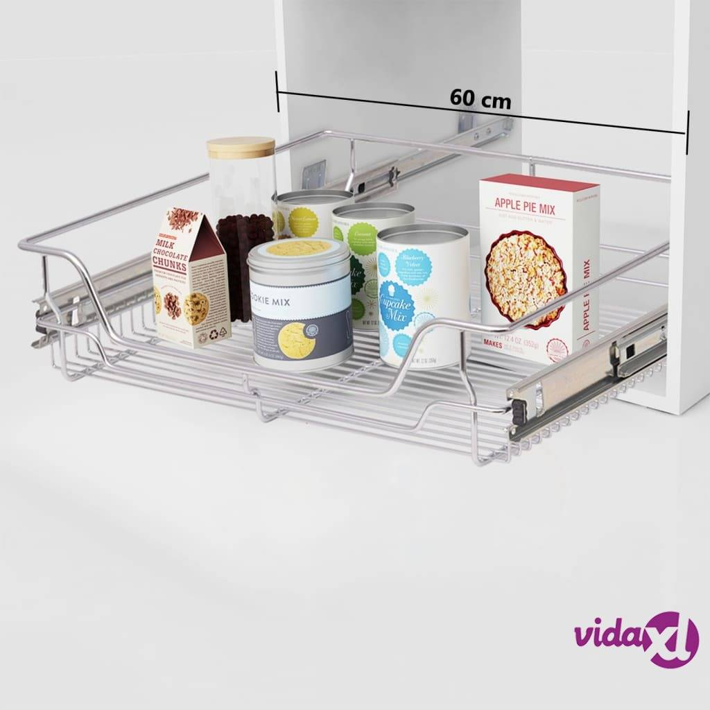 """vidaXL Pull-Out Wire Baskets 2 pcs Silver 23.6""""  - Silver"""