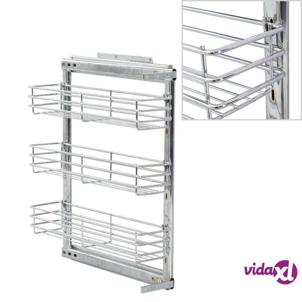 "vidaXL 3-Tier Pull-out Kitchen Wire Basket Silver 18.5""x5.9""x22""  - Silver"