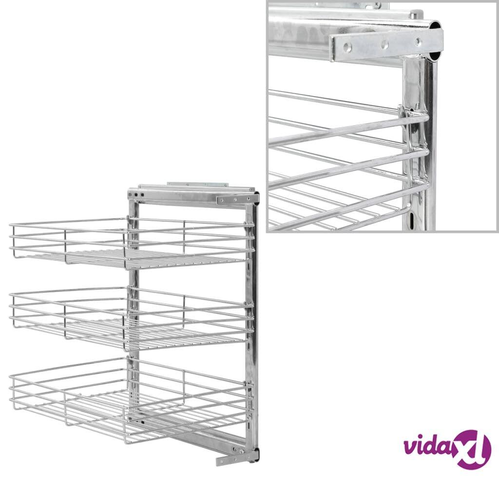 "vidaXL 3-Tier Pull-out Kitchen Wire Basket Silver 18.5""x13.8""x22""  - Silver"