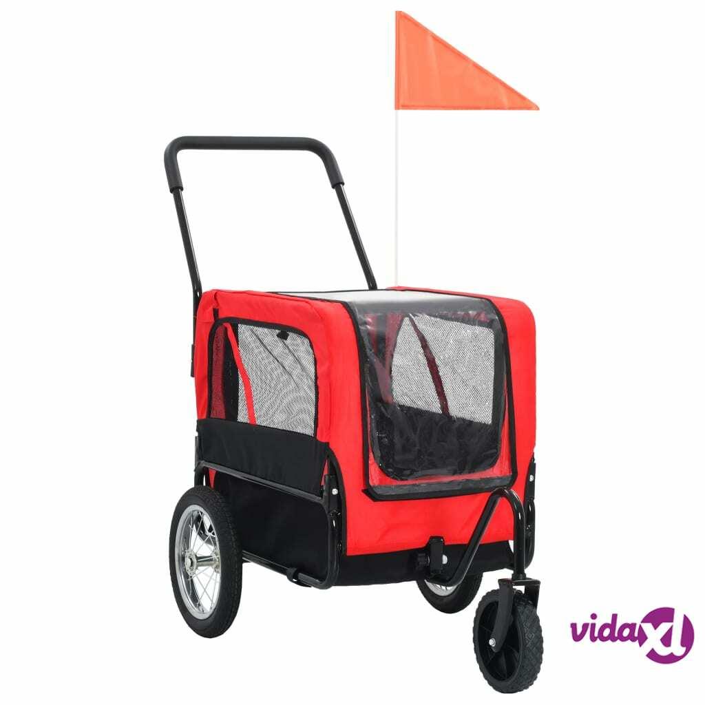 vidaXL 2-in-1 Pet Bike Trailer & Jogging Stroller Red and Black  - Red