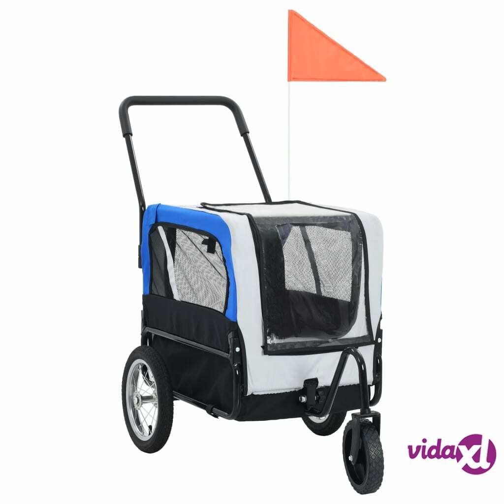 vidaXL 2-in-1 Pet Bike Trailer & Jogging Stroller Gray and Blue  - Grey