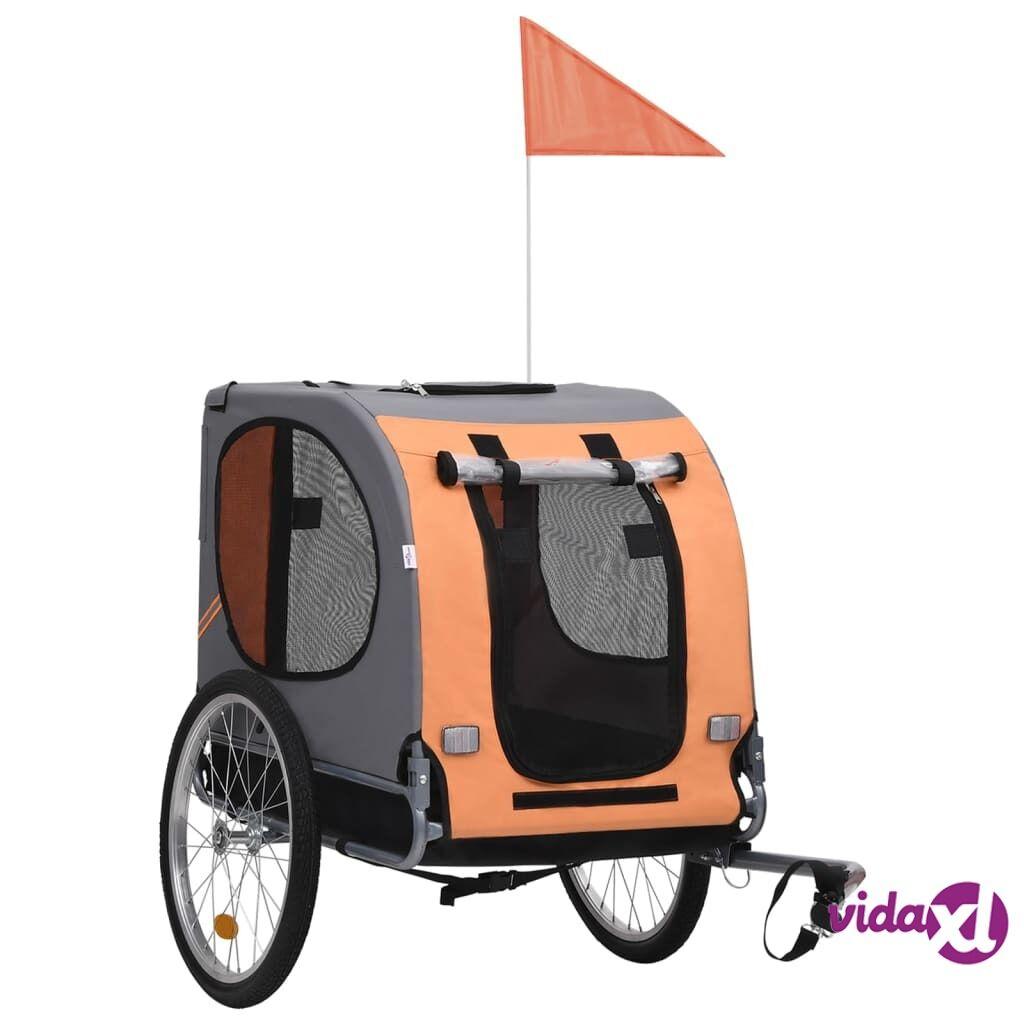 vidaXL Dog Bike Trailer Orange and Brown  - Brown