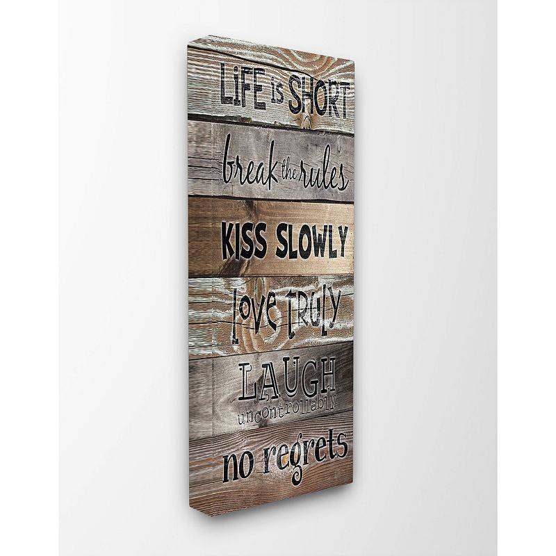 Stupell Home Decor Life is Short Planked Typography Stretched Canvas Wall Art, 10X24