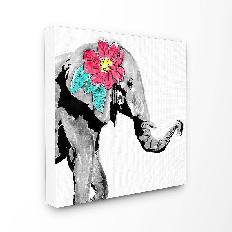 Stupell Home Decor Elephant Floral Pop Wall Art, 17X17