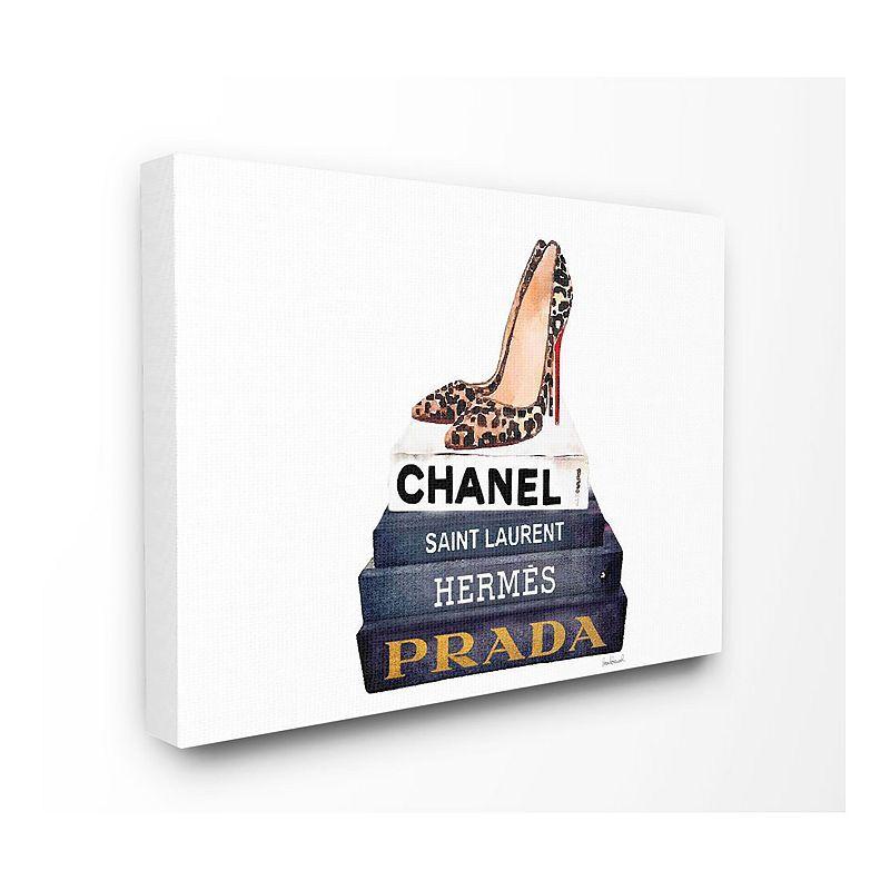 Stupell Home Decor Glam Book Leopard Heels Canvas Wall Art, 16X20