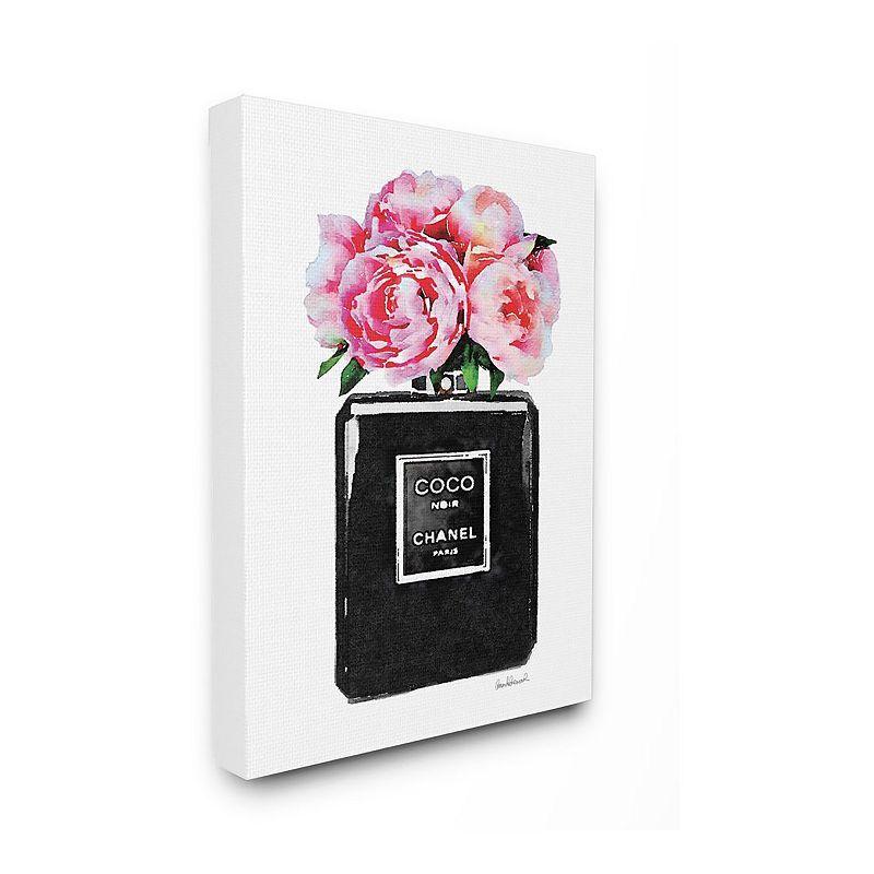 Stupell Home Decor Glam Perfume Flower Peony Canvas Wall Art, Black, 16X20