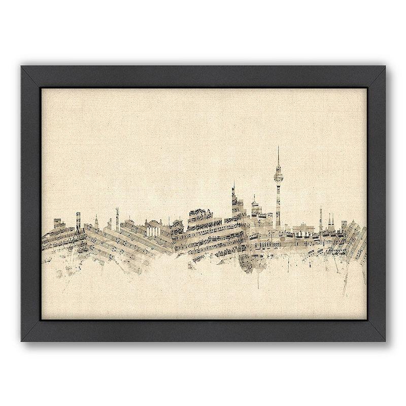 Americanflat ''Berlin, Germany Music Cityscape'' Framed Wall Art, Medium