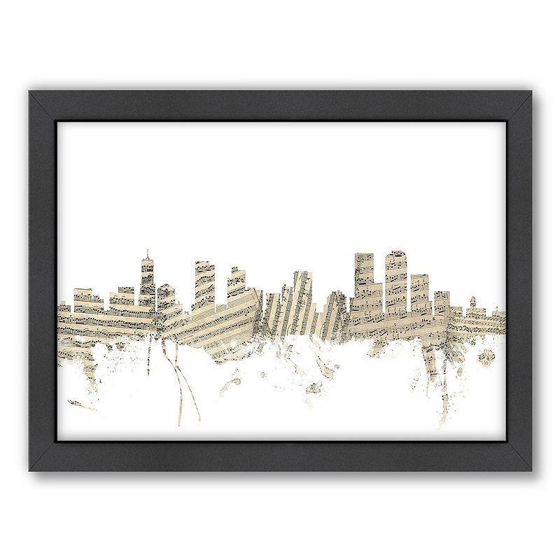 Americanflat ''Denver, Colorado Music Cityscape'' Framed Wall Art, White, Medium