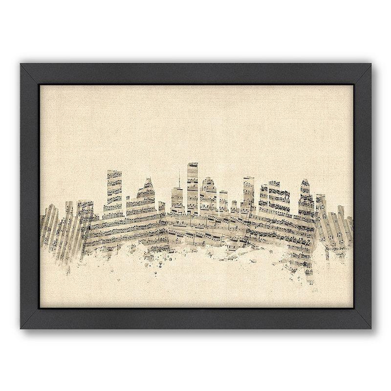 Americanflat ''Houston, Texas Music Cityscape'' Framed Wall Art, White, Medium