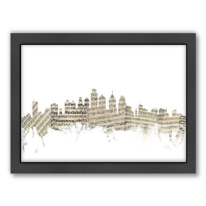 Americanflat Michael Tompsett ''Philadelphia Sheet Music'' Framed Wall Art, White, Medium